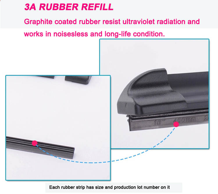 S860 4s Shop Smooth Long Service Natural Rubber Refill Windshield Driver Multifit Flat Bracketless Soft Wiper Blade