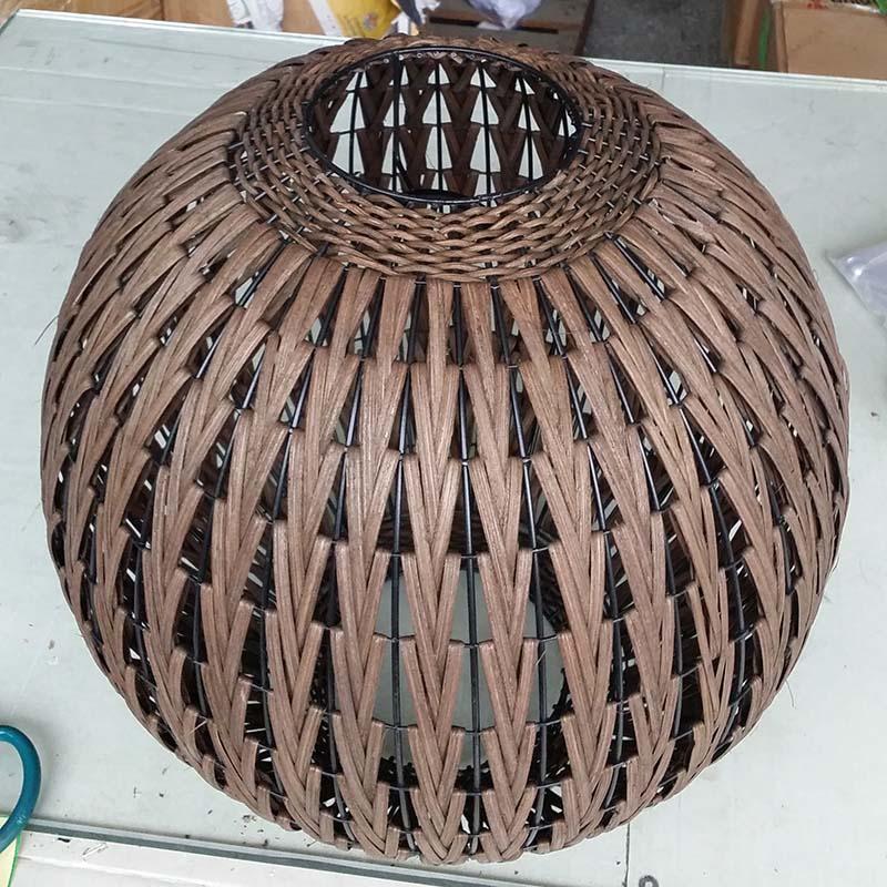 Chinese Style Bronze Rattan Lantern Fish Lighting Floor Lamp