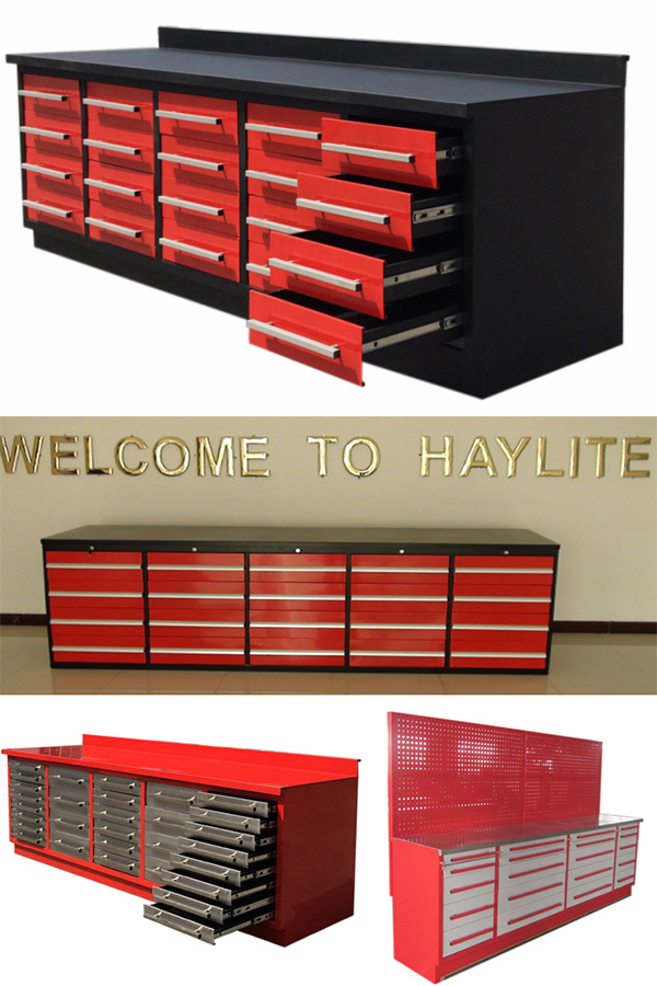 30drawer Ball Bearing Steel Tool Chest with Wooden Top