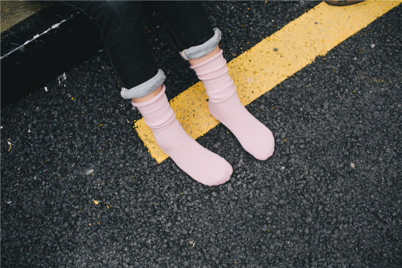 Fashion Comfortable Adjustable Cuff Socks Solid Color Good Quality Girl Stocking