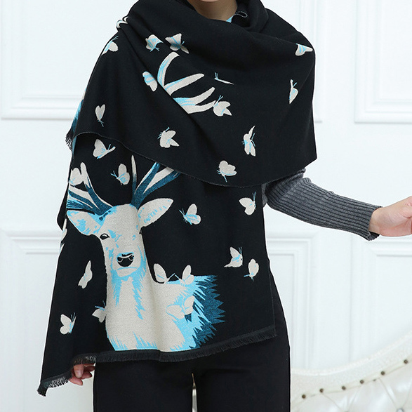 Womens Soft Cashmere Feel Alike Deer Printing Stole Shawl Wraps Scarf (SP282)