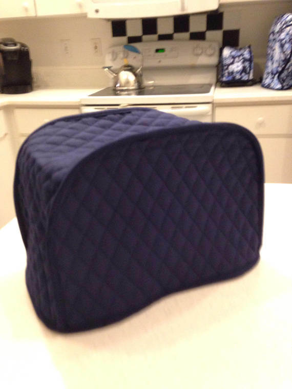 Navy Blue 2 Slice Toaster Cover Quilted Fabric Dust Cover Kitchen Storage Small Appliance Covers