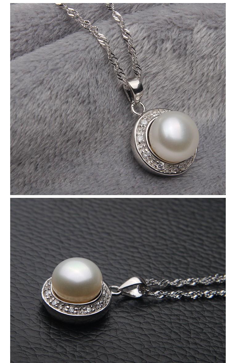 AAA Semi Round 9-10mm Simple Freshwater Pearl Pendant