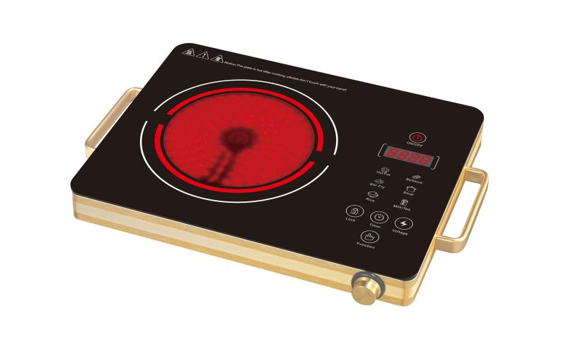 Portable Knob Control + Metal Body Ceramic Hob Cooker with Handle Sm-Dt212