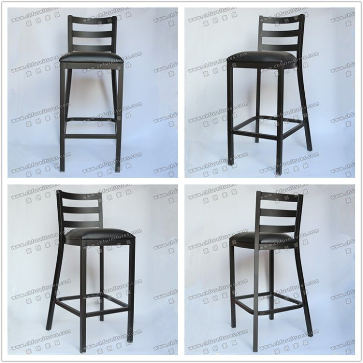 Black Vinyl PU Leather Dining High Bar Stools Coffee Chair for Cafe and Club Yc-H24