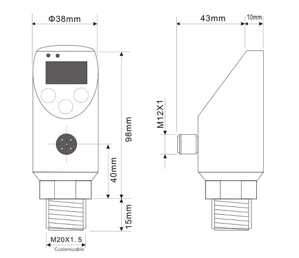 0-20mA/4-20mA/0-5V/RS485 Electrical Pressure Switch with OLED Self-Luminous Display