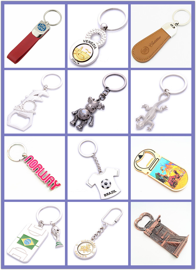 Promotion Gift Metal Keyring Leather Keychain with Stamp Logo (F3027)