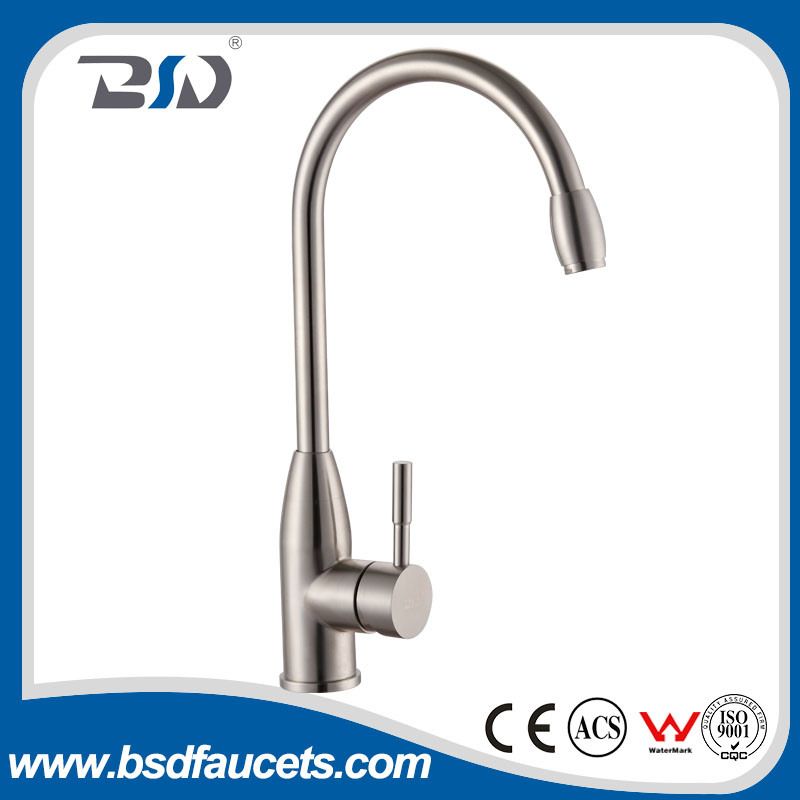 Single-Handle Rust Free Kitchen Sink Faucet Stainless Steel No Lead
