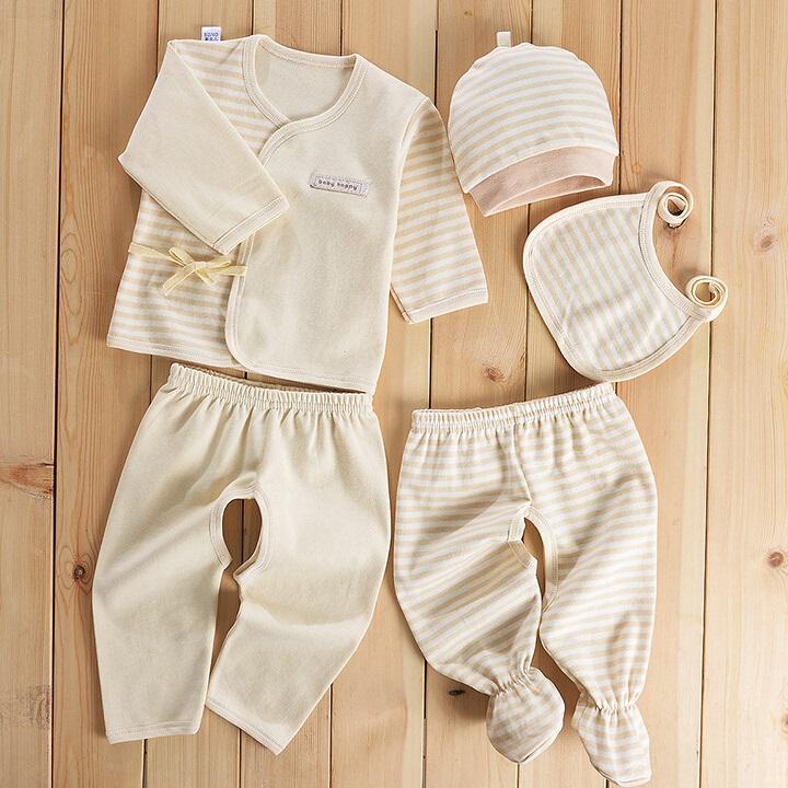 Colored Cotton Stripes Newborn Baby Clothes 5PCS