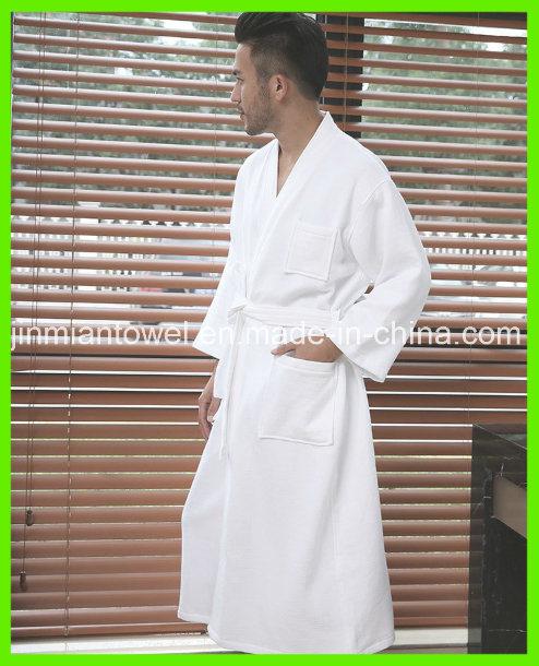 Women's & Men's Terry Robe Plush Cotton SPA Kimono Bathrobe, White
