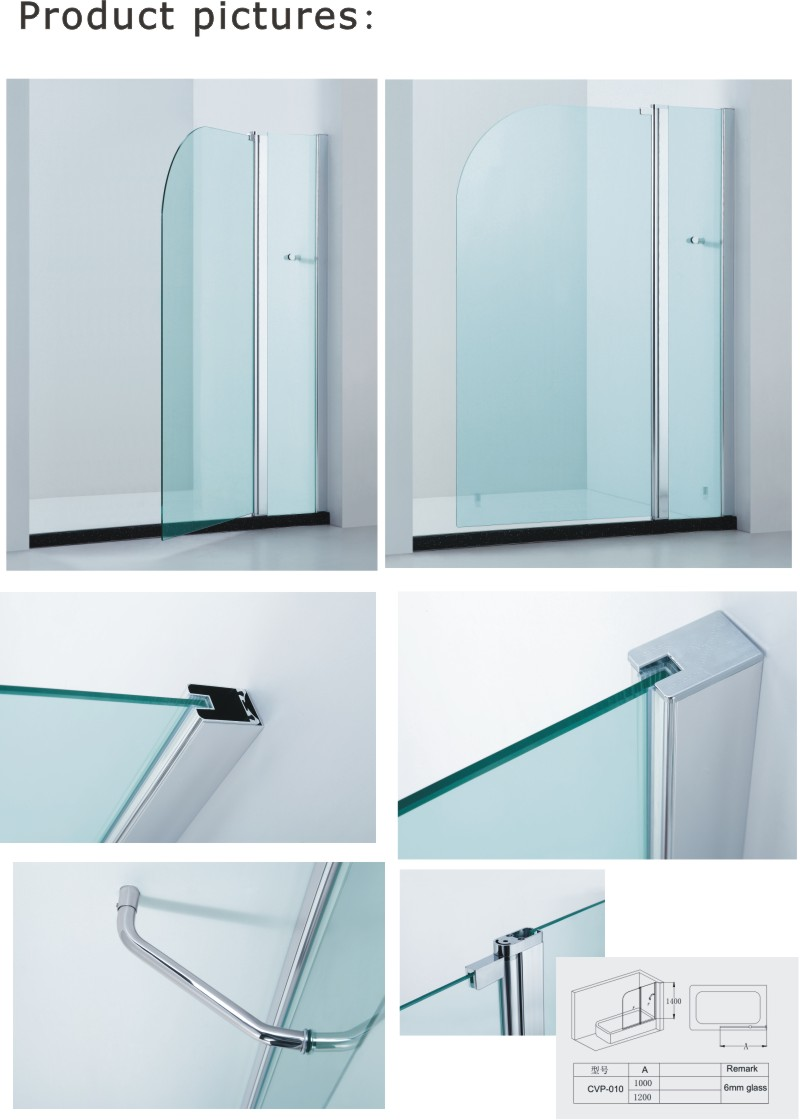 Curved Corner Bathtub Screen/Rounded Corner Shower Screen (CVP010)