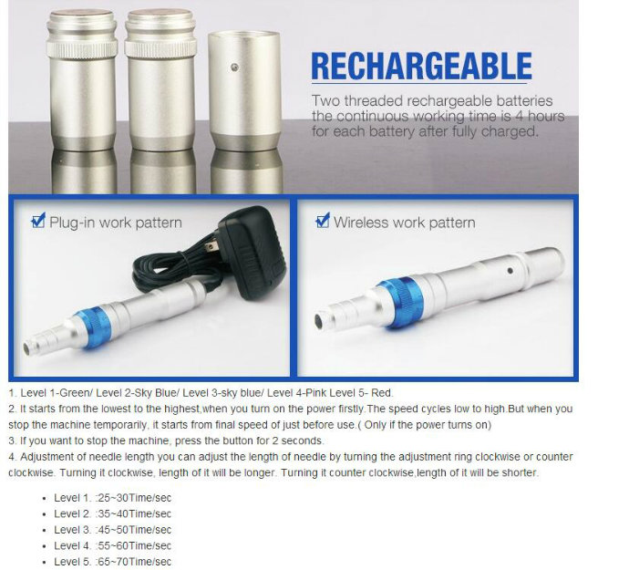 Newest Rechargeable Micro Pen for Skin Needling Treatment A6