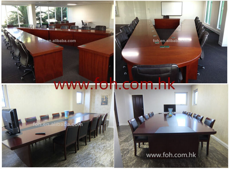 Office Furniture Rectangular Glass Conference Table Glass Meeting Table in Black (FOHJ-8085)