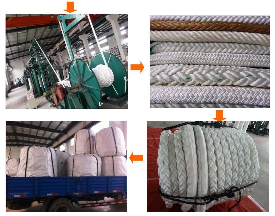12-Strand Chemical Fiber Ropes Mooring Rope Polypropylene, Polyester Mixed, Nylon Rope