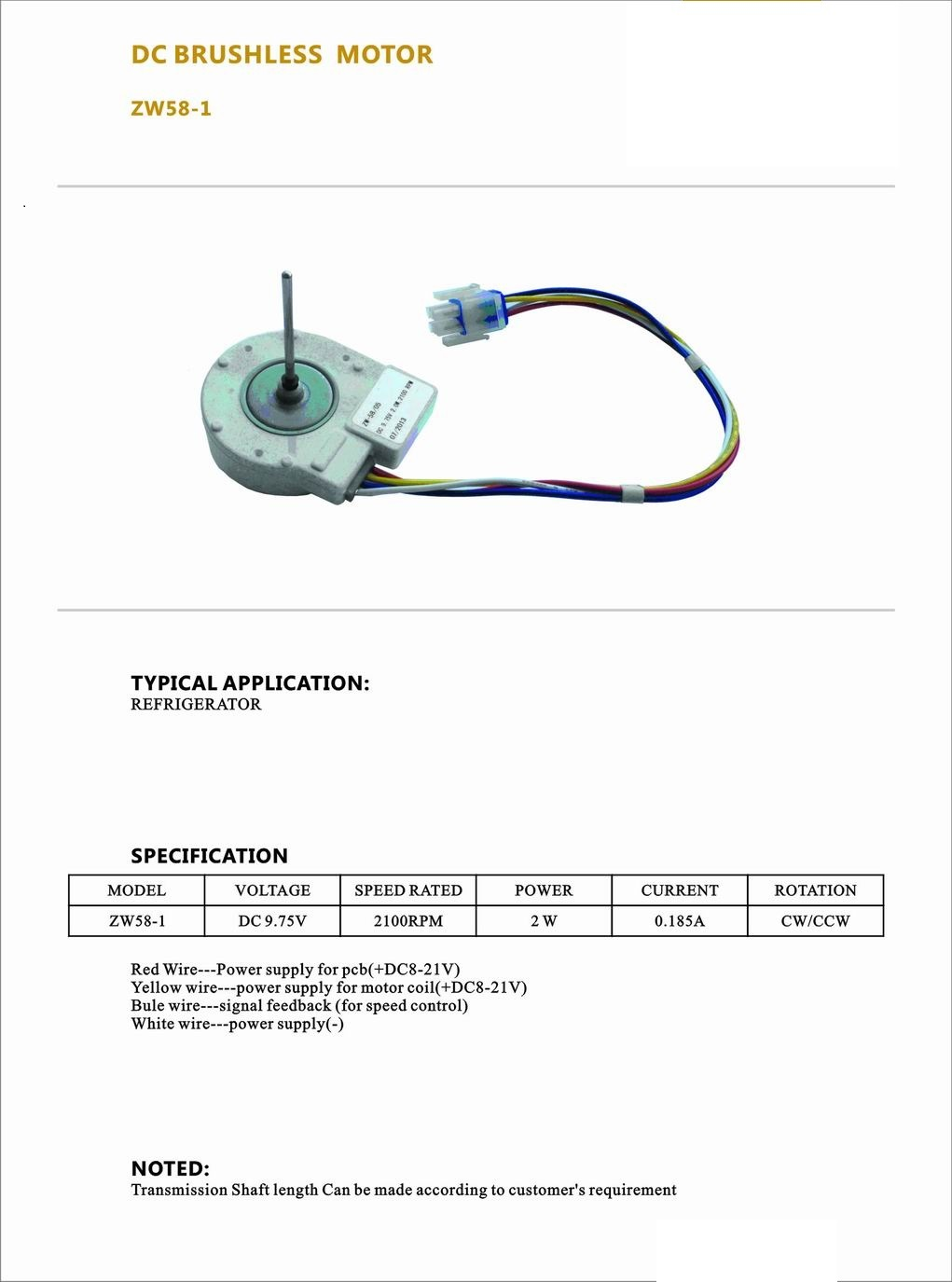 New Design Low Speed Refrigeration Part DC Micro Brushless Motor
