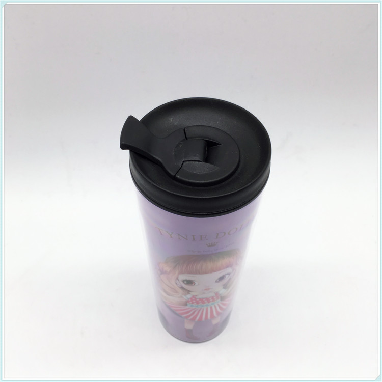 500ml High Quality Double Wall Plastic Coffee Mug with Paper Insert (SH-PM07)