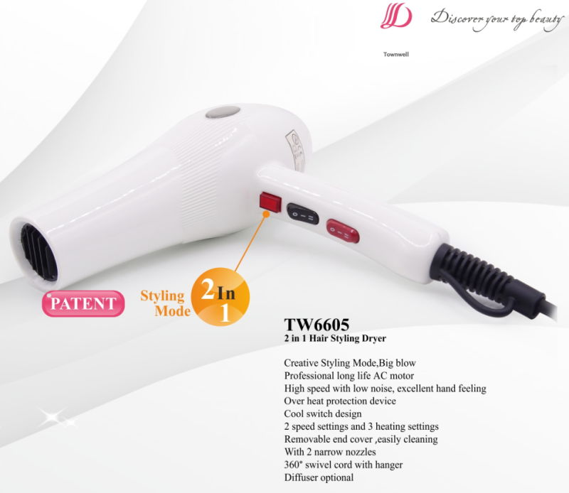Professional Long Life AC Motor Hair Dryer with 2 Concentrators Factory Wholesale