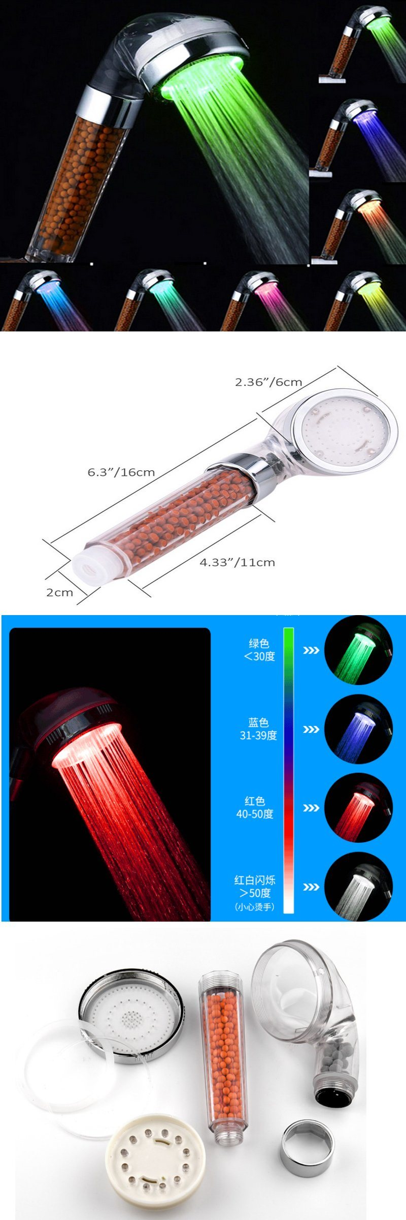 Water Temperature Control LED Changing Square Rainfall Shower Head with 3 Color