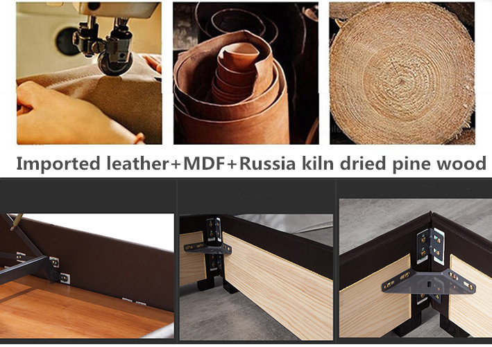 Miami Furniture Factory Wholesale Solid Wood Leather Bed