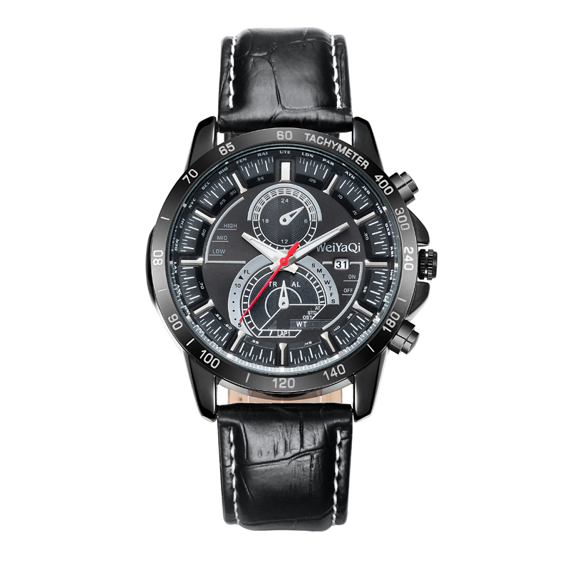 Fashion Wristwatch Multifunction 42mm Metal Case Leather Strap