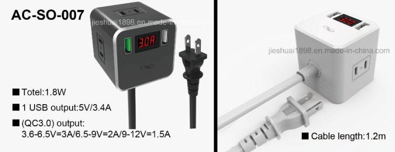 3-Outlet Power Strip Plus QC3.0 Port Switch Socket