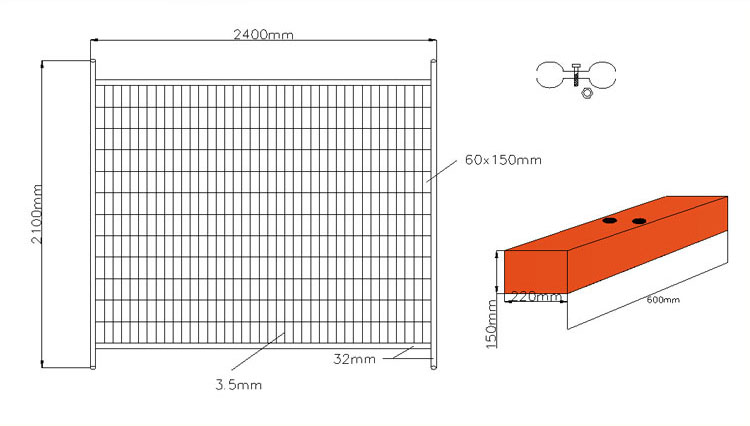 China Factory Hot-Dipped Galvanized Australia Temporary Fence for Sale