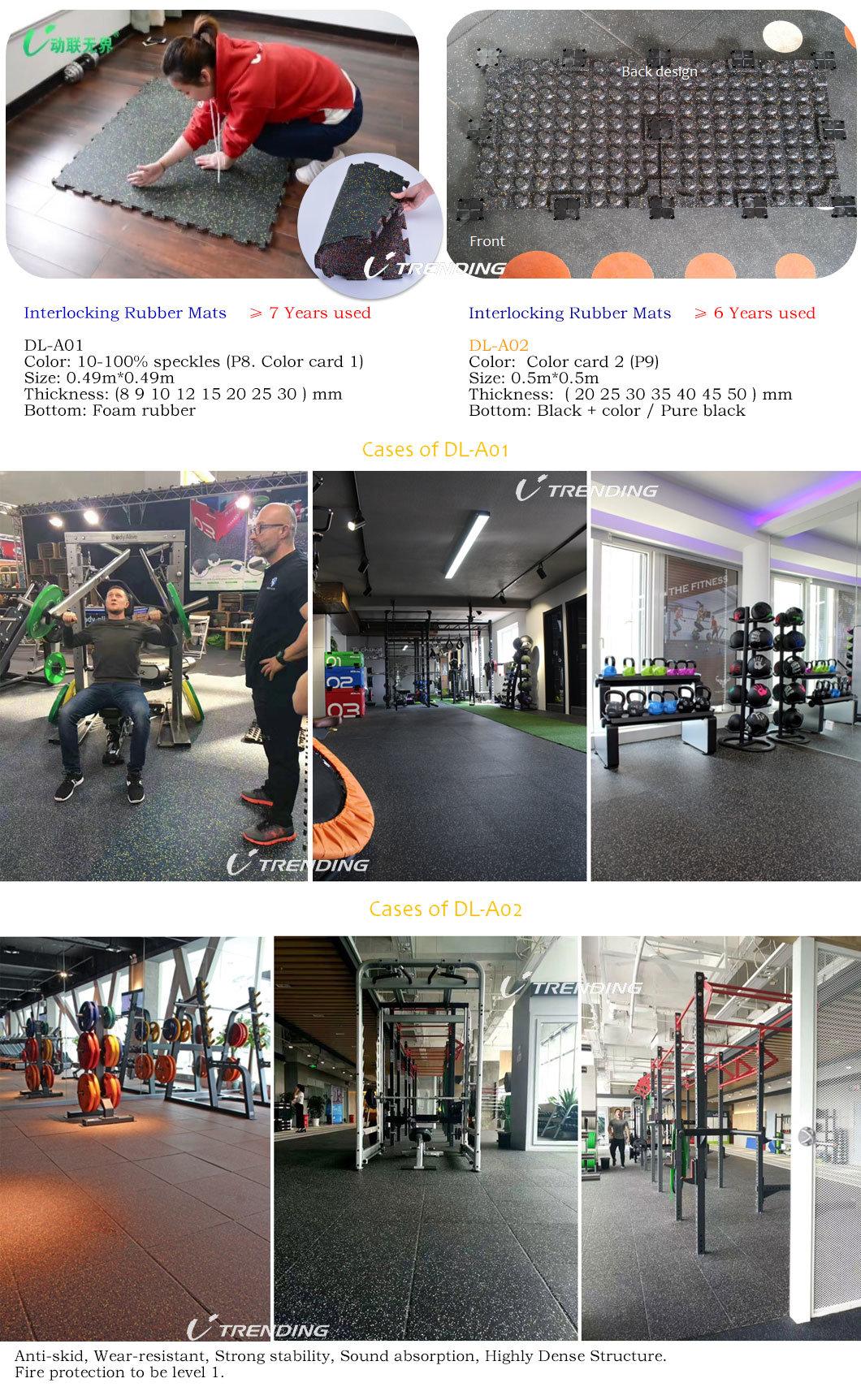 Waterproof EPDM Crossfit Gym Noise Reduction Rubber Flooring Tile / Bricks / Rolls / Interlocking