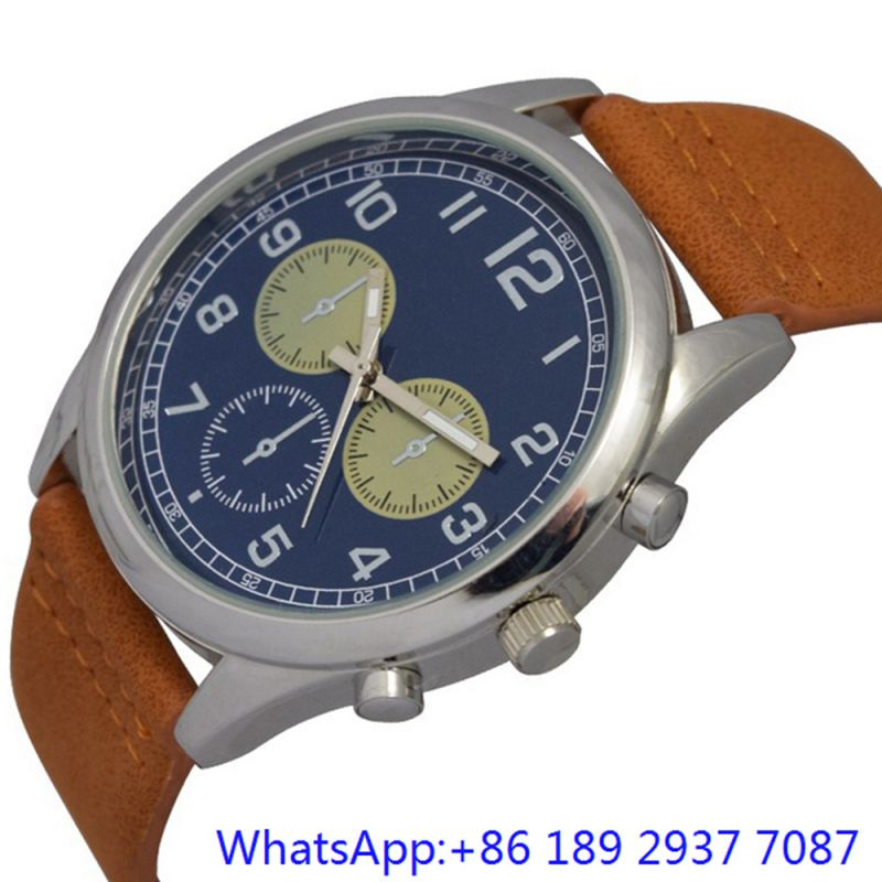 Top-Quality Alloy Quartz Men's Watch Leather Band Blue Dial Japan Chronograph (15172)