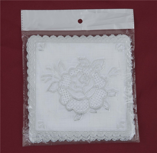 12.5*12.5cm Pink Lace Gold PVC Tablemat Popular Use Home/Coffee