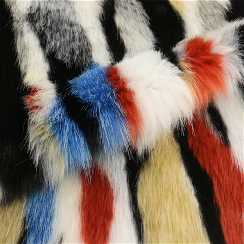 Colorful Fur Woolen Fabric for Women's Overcoat