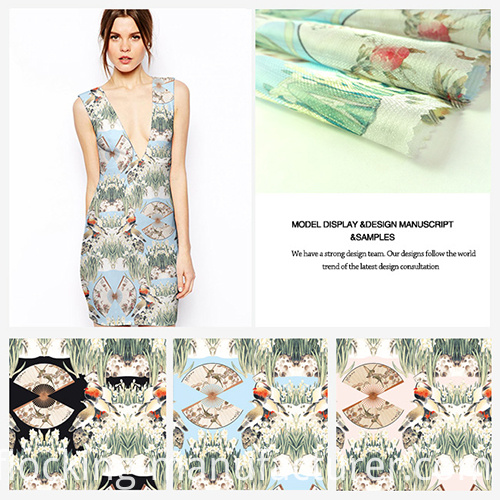 New Trend Bird-Pattern Printed Polyester Dress Garment Fabric