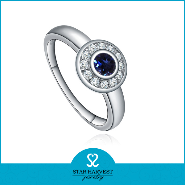 High Quality Round Shape Silver Blue Sapphire Jewellery (SH-J0015R)