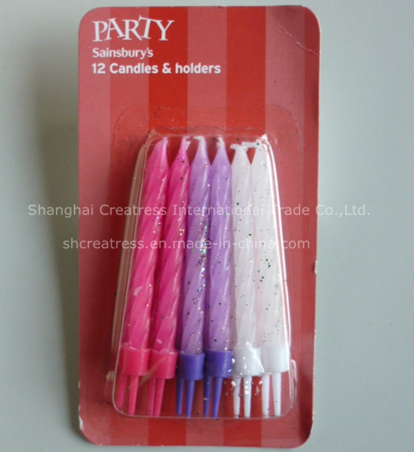 Personalized Eco-Friendly Raw Material Flameless Spiral Birthday Cake Party Candles
