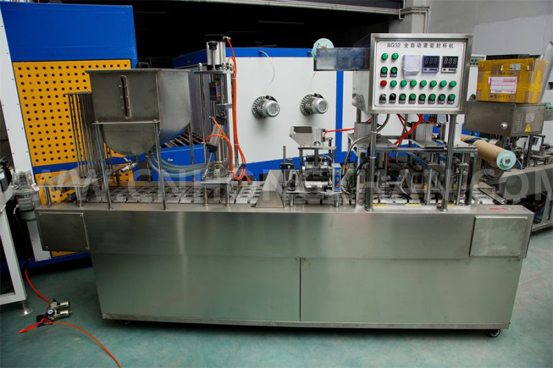 Bg32A Automatic Cup Filling Sealing Machine for Juice Popcorn