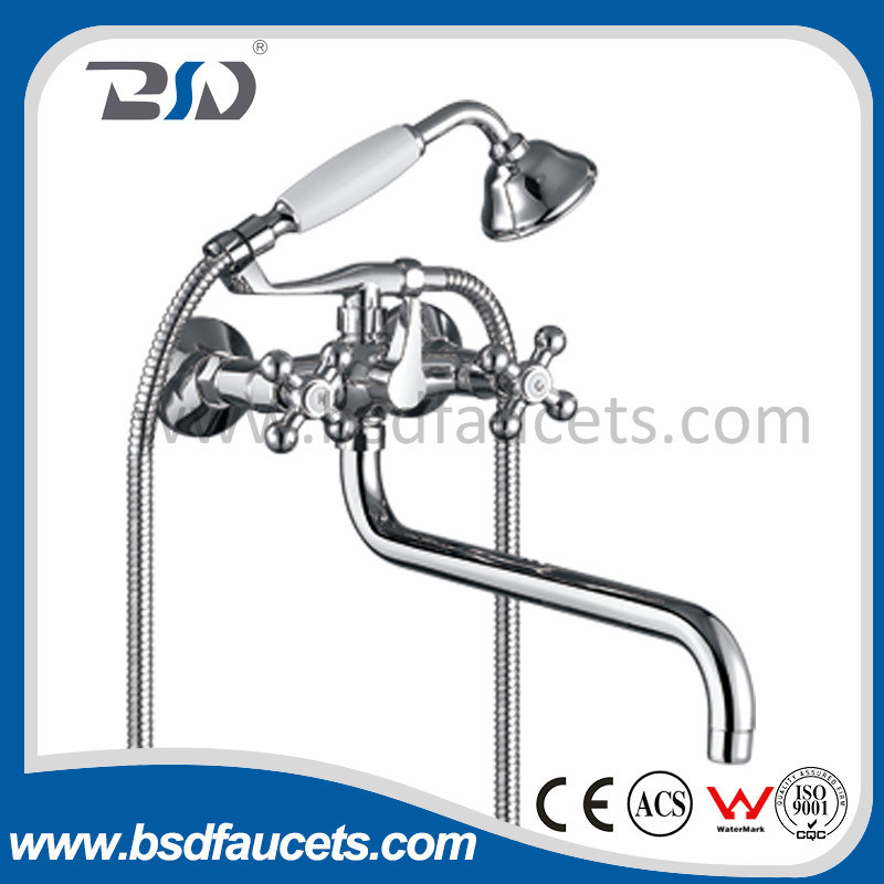 Bath Shower Faucet Mixer with Brass Shower Classic Style