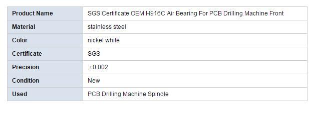CNC PCB Drilling Machine Spindle Parts H916c Front Air Bearing