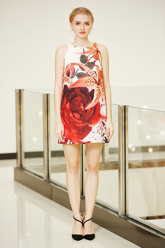 A Line One Piece Placement Printing Dress