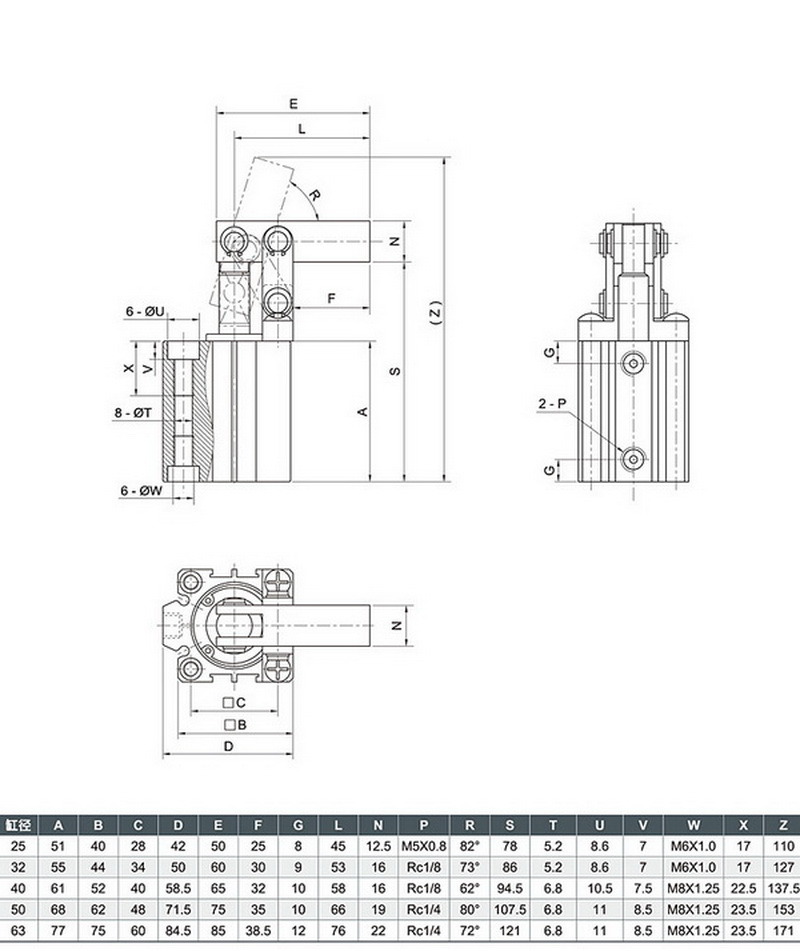 Spring Return Air Cylinders/Single Acting Air Cylinder/Pneumatic Air Cylinder