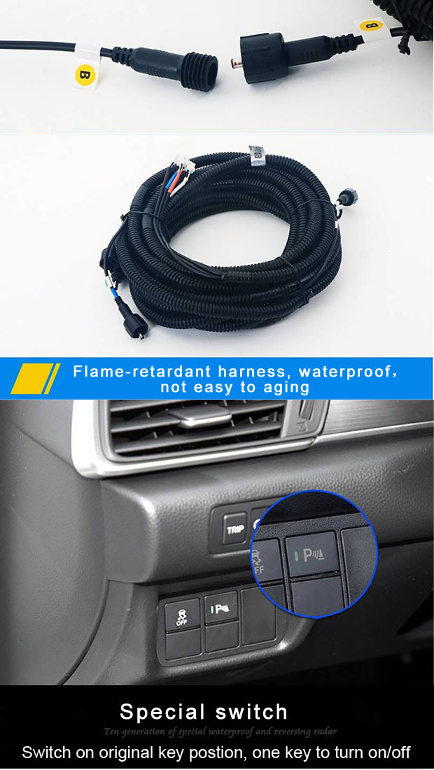 Dedicated Screen Car Front Rear Parking Sensor for Honda