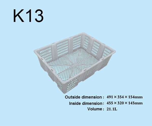 K13 Plastic Foldable Logistic Turnover Crate for Vegetables and Fruits
