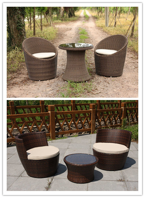 Outdoor Wicker Rattan Barcelona Dining Table 2 Folding Chairs (FS-2290+FS-2292)