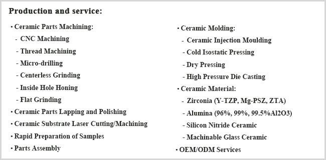 Ytzp/Zro2/Zirconia Ceramic Staff Machining
