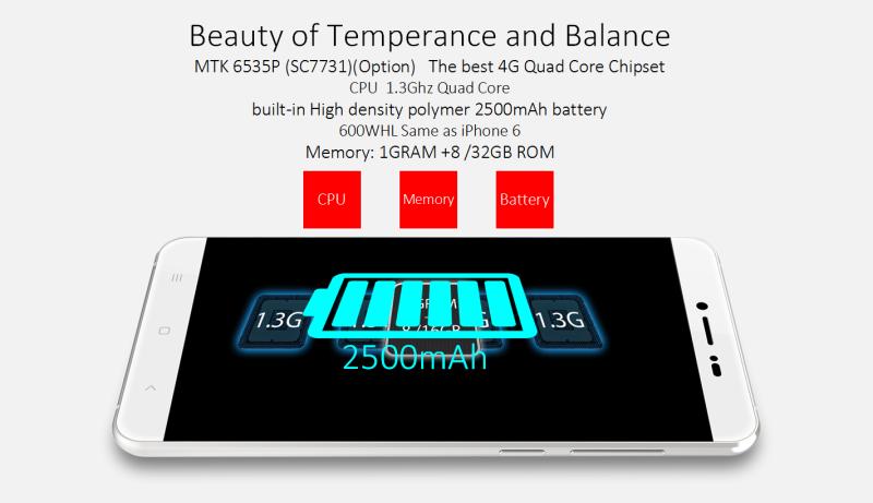 5.5'' Mt6735p Quad Core Android5.1 HD IPS 2500mAh Battery Phone