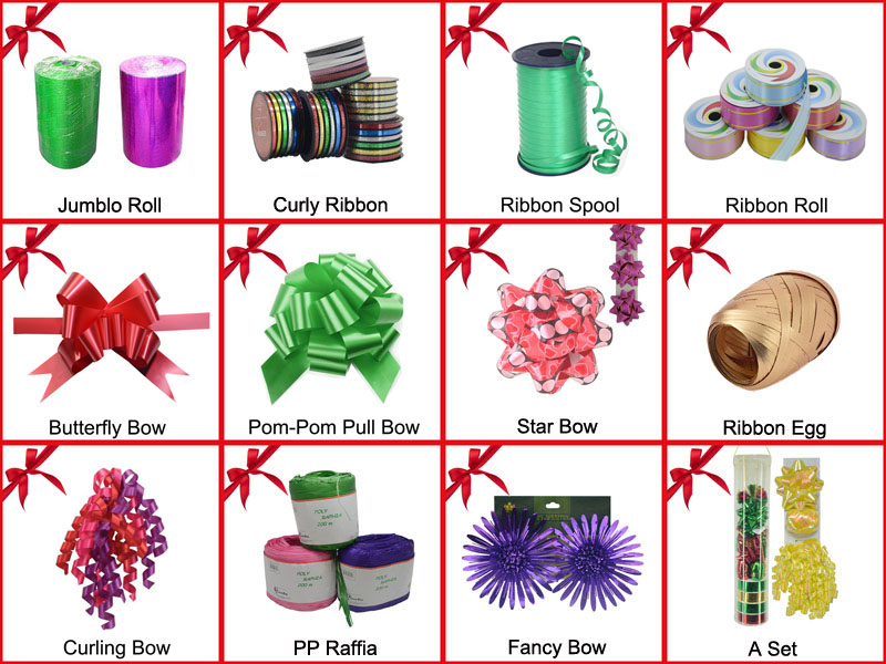 Single Color Gift Wrap Bow Curly Ribbon for Blloons