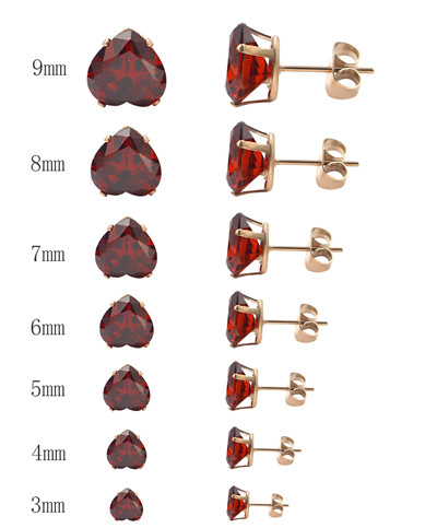 fashion Different Size Heart Shape Crystal Jewelry Stud Earrings