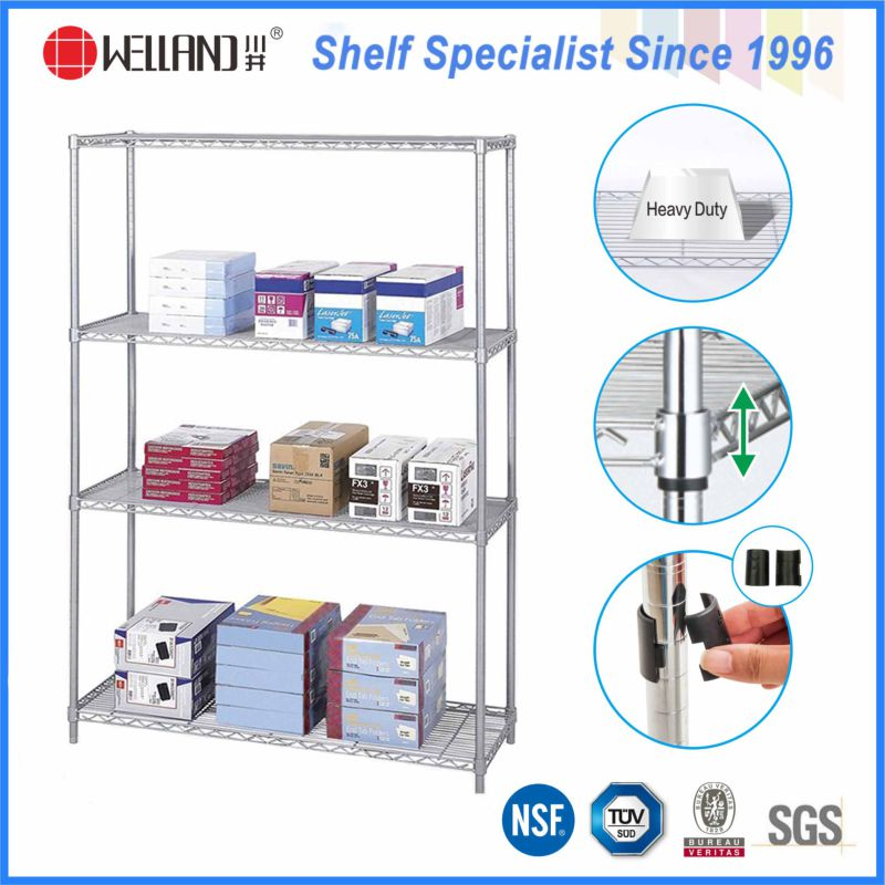Hot Sale 4 Tiers Chrome Metal Wire Stationery Display Rack