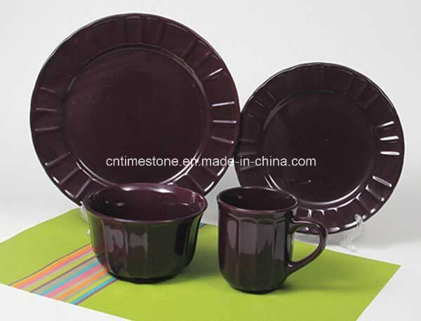 16PCS Ceramic Red Color Embossed Dinner Set
