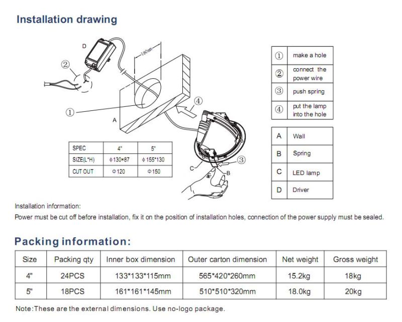 100lm/W Adjustable Adjustable Downlight 20 W, Epistar/Citizen COB LED Downlights 20 Watt