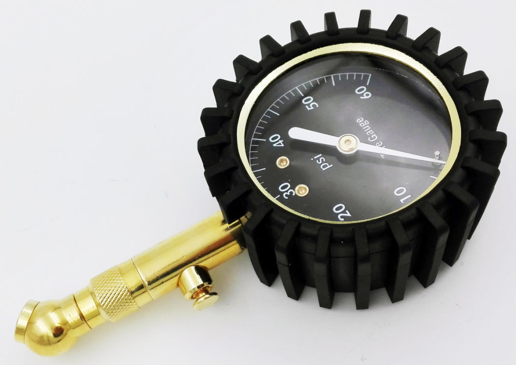 Factory Sale Easy Operation1.6% Accuracy and Bottom Mount Golden 100psi Tire Pressure Gauge with 12 Months Warranty