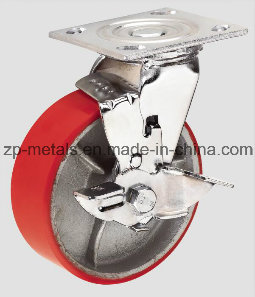 Heavy-Duty Iron PU Swivel Caster Wheel with Side Brake